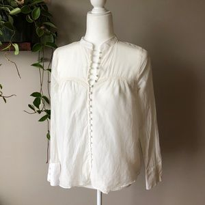 Free People white silk blend button blouse top